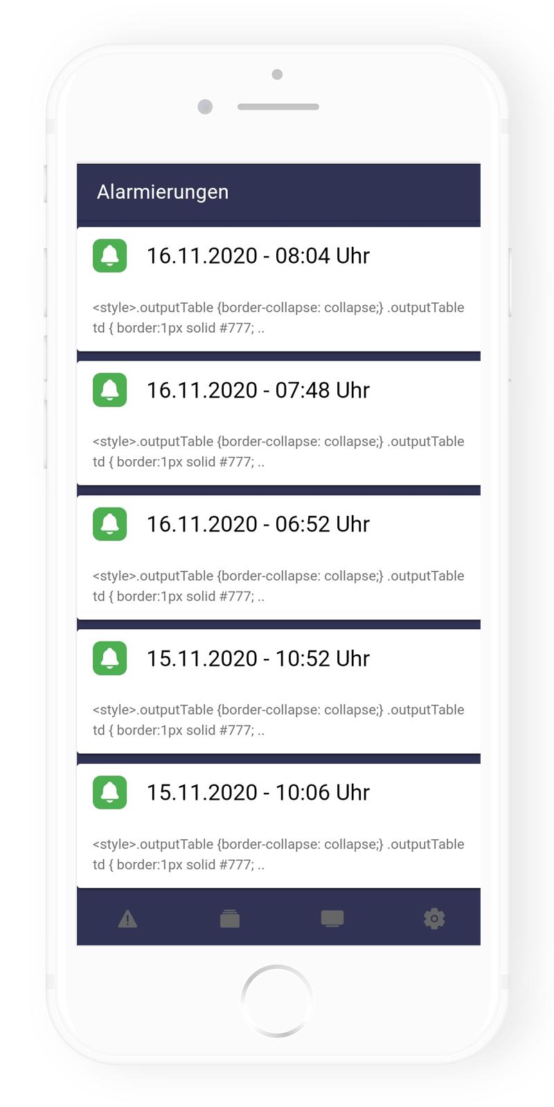 Frey Group - App: Alarm Übersicht
