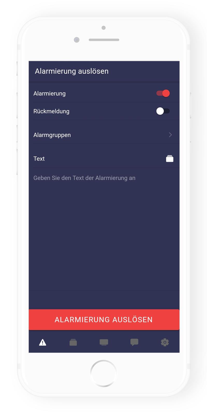Frey Group - App: Alarmierung senden